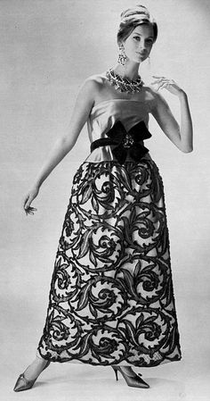 1960  lace and chenille embroidered silk evening dress by Bob Bugnand