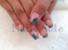 Butterfly #Nails animal print gold
