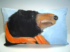 Mr. Bear - Hand Painted Pillow - Black bear in orange wooly scarf - 12X20 - Lake House - Children's Room - Home Decor - Art Pillow on Etsy, $85.00