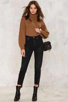 Citizens of Humanity Liya Hi-Lo Hem Jeans - Black | Shop Clothes at Nasty Gal!