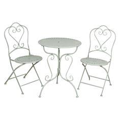 Gartenmöbel SET Im Landhausstil Tisch + 2 Stühle Grün 5Y0129 | Deko Salon  Online Shop
