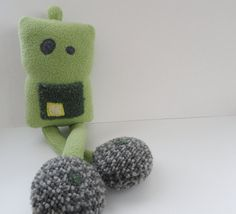 Green Robit Robot Plush Handmade Stuffed Friend via Etsy
