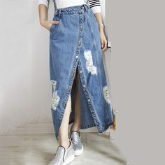 2017 The new listing of blue denim strap fashion hole washed denim skirt wholesale backpack 9165M