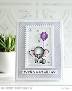 Stamps: Adorable Elephants, More Essential Sentiments Die-namics: Adorable Elephants, Stitched Mini Scallop Rectangle STAX Joy Taylor Bday Cards, Kids Birthday Cards, Handmade Birthday Cards, Karten Diy, Shaker Cards, Animal Cards, Card Sketches, Card Tags, Kids Cards