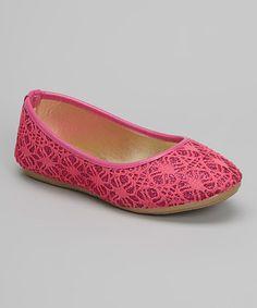 Loving this Fuchsia Crochet Glitter Flat on #zulily! #zulilyfinds