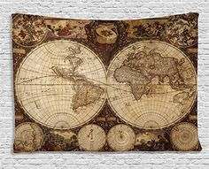 World Map Tapestry Vintage Wanderlust Decor by Ambesonne, Image of Old Map in 1720s Nostalgic Style Art Historical Atlas Decor, Bedroom Living Room Dorm Wall Hanging Art, 60 X 40 Inches, Brown Beige