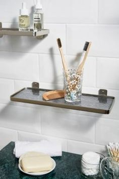 Perfect textured glass shelf with brass frame detailing. Looks great in a bathroom, bedroom & more.Content + Care Glass, metal Wipe clean Hanging hardware not included Size x x Glass Shelves, Wall Shelves, Urban Outfitters, Glass Texture, Cleaning Wipes, Hardware, Brass, Deco, Silver