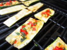 Zucchini Steaks: Grill zucchini and it them with cheese, basil and tomatoes
