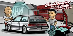 """Jdm Built Illustrationpart of the series """"the Drivers"""" Serie dedicated to all the vehicle enthusiast honda civic"""