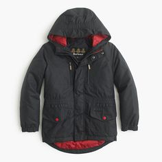 Bring it on, wet weather: this water-resistant jacket is made by Barbour, the British company that practically invented foul-weather jackets in 1894. Finished with penty of pockets and a breathable, bright red lining, this is the jacket he'll want to wear every single day (rain or shine). <ul><li>Snap closure.</li><li>Import.</li><li>Online only.</li></ul>