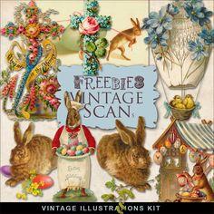 Freebies Vintage Easter Vignettes-CK
