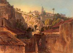 Alger, mosquée d'Ab der Rhaman, vue prise de la porte Bab-el-Oued, prise au daguerréotype Walter lithographe