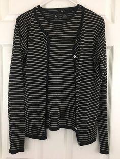 Silk Twinset Sleeveles Shell Cardigan Sweater Black Tan Stripe K Petites Size PS #KPetites #Twinset #CasualCareer