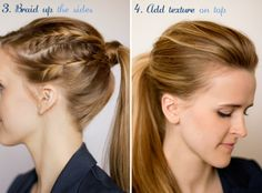 Side French braids into pony