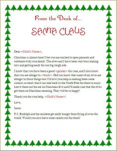 A customizable Santa-letter to help an allergic child feel part of the Christmas cookie fun.