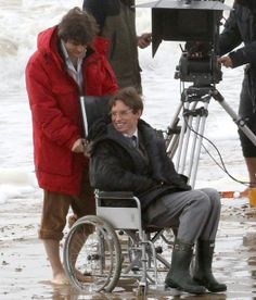 Charlie Cox and Eddie Redmayne on the set of the Theory of Everything