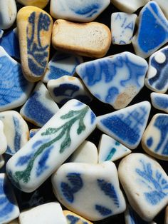 beach sea pottery pieces