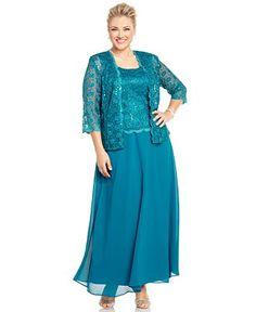 R&M Richards Plus Size Sequin Lace Dress and Jacket - Dresses - Plus Sizes - Macy's