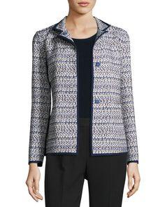 Branson Stand-Collar Tweed Jacket, Plus Size, Multi