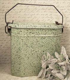 Vintage French Graniteware Lunch Pail - Wonderful Pale Green Enamel