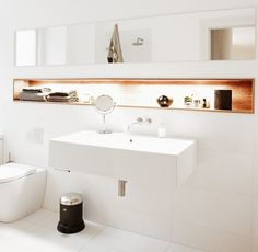 bathroom – long recessed shelf