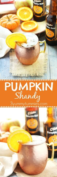 This Pumpkin Shandy is a refreshing blend of fresh orange juice, apple cider, triple sec and pumpkin beer served over ice.