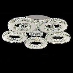 LED Crystal Flush Mount, 5 Lights, Modern Transparent Electroplating Stainless Steel – USD $ 199.99