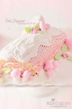 Pink Peppermint Bûche de Noël... for Christmas of course, but I like the idea of it for a baby shower or fairy themed party.  Maybe with strawberry instead of peppermint.