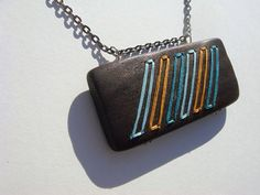 Embroidered Wood Chevron Necklace--Turquoise Marigold and Baby Blue