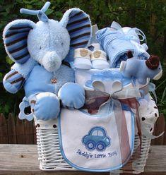 mini diaper cake gift basket for baby boy