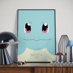 Squirtle Minimal Print Design. Poster. Pokemon Go.  Professional typography…