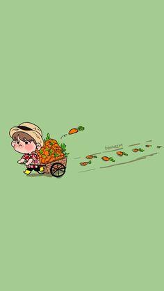 Awe so cuteeeeeeeeeeeeee 😙 Cocoppa Wallpaper, Kawaii Wallpaper, Bts Wallpaper, Bts Chibi, Bts Drawings, Cute Cartoon Wallpapers, Jungkook Cute, Aesthetic Pastel Wallpaper, Fan Art