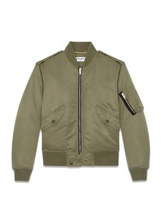 The best bomber around!  Saint Laurent Classic Bomber Jacket in Khaki Nylon, $2,290, ysl.com
