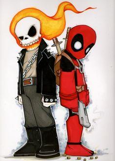 Ghost Rider & Deadpool by Chris Uminga