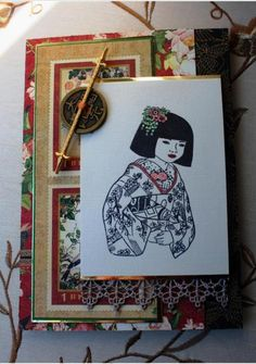 handmade card ... Asian theme  ... Button and Lace by Anne Ryan ... collage style ... girl in kimono ... Graphic 45 papers in background ... lace & coin  ... like it!
