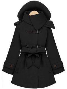 Abrigo con capucha y cinta-Negro 55.22