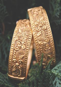 Temple Work Floral Emboss Bangles - Set of 2 Gold Plated Bangles, Silver Bracelets, Bangle Bracelets, Silver Jewelry, Silver Rings, Choker Necklaces, Gold Necklace, Gold Bangles Design, Imitation Jewelry