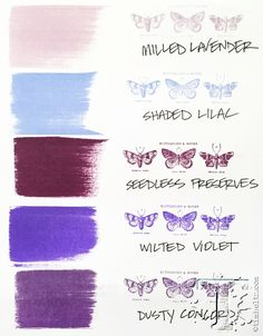Tim Holtz / Ranger distress inks - PURPLES comparison: Milled Lavender, Shaded Lilac, Seedless Preserves, Wilted Violet, and Dusty Concord Encre Distress Ink, Tim Holtz Distress Ink, Distress Markers, Distress Oxide Ink, Tim Holtz Stamps, Ink Stamps, Druckfarben Im Distress-look, September Colors, Distress Ink Techniques