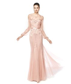 NAIMA - Cocktail dress with gemstones embroidery and sheer effect. Pronovias 2015 | Pronovias