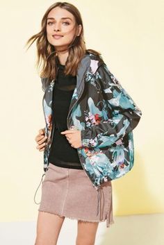ea3322626 Buy Floral Cropped Cagoule from the Next UK online shop Mesh Long Sleeve,  Long Sleeve