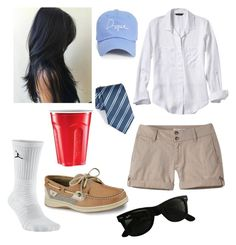 """""""Frat Boy"""" by emilylblevins on Polyvore featuring Mountain Khakis, Armani Collezioni, NIKE, Sperry, Banana Republic, GURU, Ray-Ban and Boohoo"""
