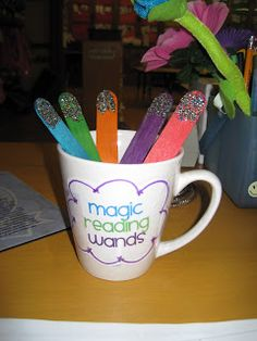 """Glitter magic reading wands - """"helps"""" kids read better. Whatever keeps kids interested/motivated!!!!"""