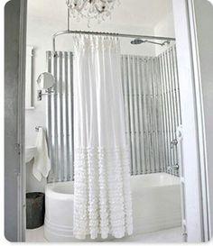 Corrugated tin shower walks