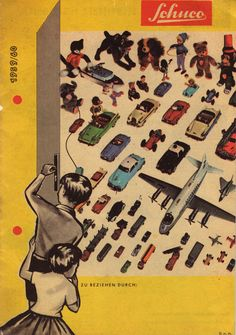 A 1959-1960 catalog for German toy firm Schuco, who specialized in small tin cars and moving figures.