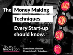 the-money-making-techniques-every-startup-should-know-by-boardofinno by Board of Innovation .com via Slideshare Small Business Marketing, Marketing And Advertising, Social Networks, Social Media, Innovation, Revenue Model, Way To Make Money, How To Make, Evernote
