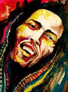 Portrait of Bob Marley in Inks