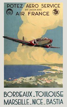 Potez Aero Service France 1935 - old vintage French airline poster repro Air France, Vintage Advertisements, Vintage Ads, Art Vintage, Illustration Avion, Retro Airline, Travel Sticker, Train Posters, Tourism Poster