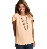 Petite Solid Cocoon Top - In candy coated hues, this darling top channels an instant girly glam vibe. Jewel neck. Short dolman sleeves. Gathered beneath front and back yoke. Gathered elasticized hem.