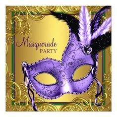 Sweet Sixteen Birthday Party Invitation Feather Mask Purple and Gold Masquerade Party Card
