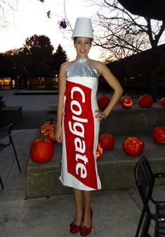 Toothpaste-inspired costume.
